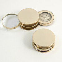 Gold Plated Paper Weight with Compass & Magnifier.