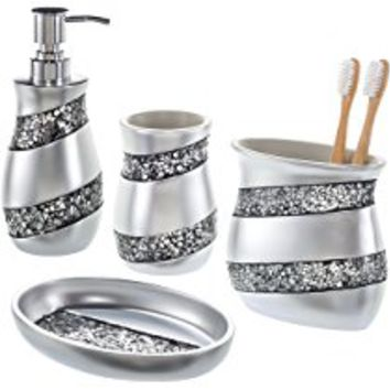 Creative Scents Bathroom Accessories set, 4-Piece Mosaic Glass Luxury Bathroom Gift Set, Includes Soap Dispenser, Toothbrush Holder, Tumbler & Soap Dish – Finished in Stunning Silver