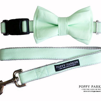 Mint Green Layered Dog Bow Tie - Optional Matching Dog Collar Dog Leash - Andes Mint