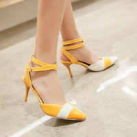 Pointed Toe Color Block Cross Straps Stiletto Heel High Heels 4699