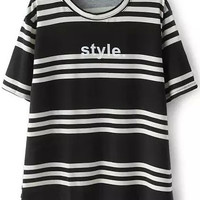 Black Short Sleeve Striped Loose T-Shirt* Available in one size. * Sizing runs small. Go up one size for a comfortable fit.