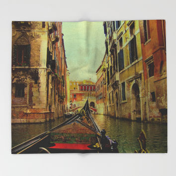 Venice, Italy Canal Gondola View Throw Blanket by Theresa Campbell D'August Art