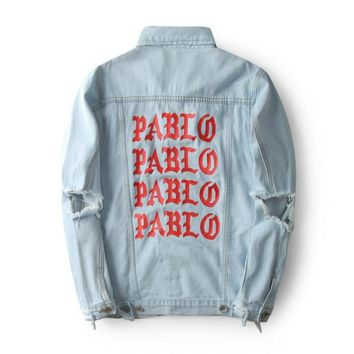 2018 New Pablo Kanye West Denim Jackets Men The Life of Pablo Kanye Denim Jeans Oversized Denim Jacket Coats S-XL