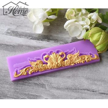 1pcs Lace Cake Border Silicone Mold Cutting Dies Fondant Mold Cake Decorating Tools Chocolate Gumpaste Candy Clay Mould Bakeware