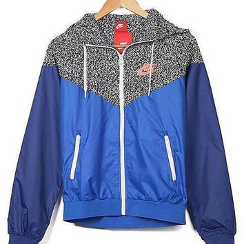 NIKE Fashion Unisex Personality Print Hoodie Zipper Cardigan Sweatshirt Jacket Coat Windbreaker Sportswear Blue I