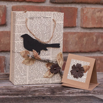 Handmade Vintage Book Paper Gift Bag with Card and Tissue Paper Set/ Bird Silhouette Gift Bag Set/ Handmade Bird Gift Wrap