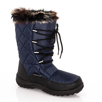 SNOW TEC Womens Frost2 Quilted Faux Fur-Lined Lace Up Winter Snow Boots