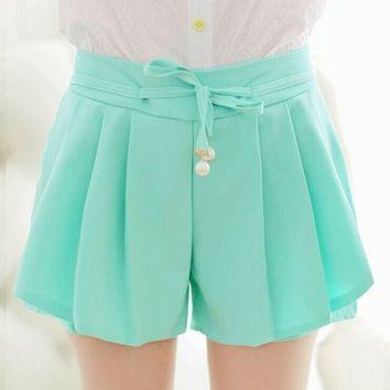 High waist shorts female summer Chiffon loose casual hot shorts elastic waist candy colors fashion women girls cute shorts
