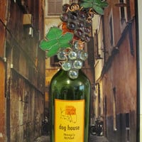 stained glass bottle topper wedding attendants gift stained glass art grapes and leaves