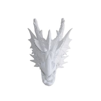 The Drogon | Large Dragon Head | Faux Taxidermy | White Resin
