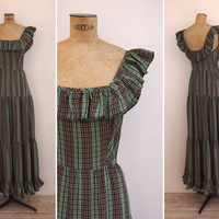 1940s Dress - Vintage 40s Plaid Taffeta Gown - Leandra Dress