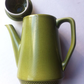 Beautiful Olive Green Coffee/Teapot by Safari Ironstone Made In Japan Vintage