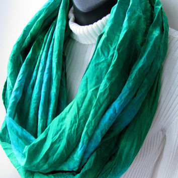 Hand dyed silk -Emerald Green Scarf Turquoise Scarf  Infinity Loop Scarf Womens Scarves Spring Scarf Spring Fashion