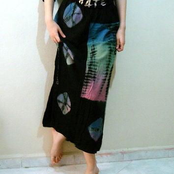Vintage 80s 90s Tie Dye Batik Black Skirt, Double Layer Long Ethnic tribal Skirt,