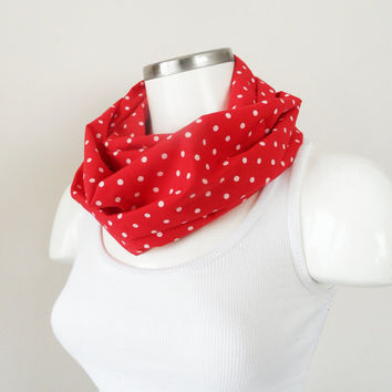 polka dot infinity, scarf, polka dot scarf, white and Red scarf