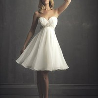 Glamourous Strapless Sweetheart Chiffon Hits At The Knee Wedding Dress WD1774