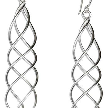 STERLING SILVER LOOSE SPIRAL WIRE TEARDROP DANGLE EARRINGS