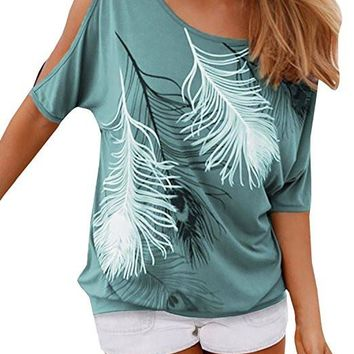 Women's O Neck Feather Print Shirt Casual Cutout Sleeve Top Blouse