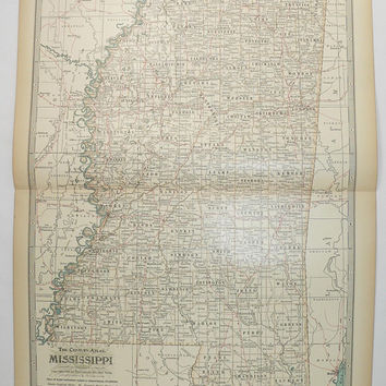 1899 Century Mississippi Map, Antique MS Map, Mississippi Gift for Couple, 1st Anniversary Gift, Gulf Coast Decor, Southern State Map