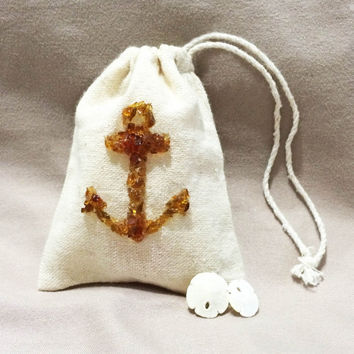 Custom Wedding Anchor Sea Glass Favor Bags, Beach Wedding Favor Bags, Nautical Wedding Favor, Beach Baby Shower Favor, Nautical Baby Shower