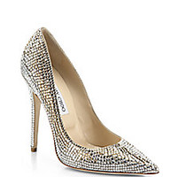 Jimmy Choo - Tartini Square Pavé Crystal & Suede Pumps - Saks Fifth Avenue Mobile