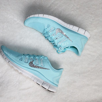 NIKE run free 5.0 shoes w/Swarovski Crystals detail - Green Glow/Grey - Glacier Blue