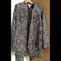 New Chico's Brown Tweed Coat  Size  3      U.S Size  L 16/18   FREE SHIPPING!!