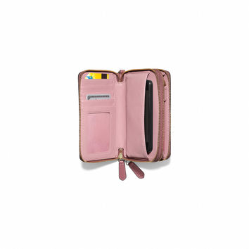 MADISON DOUBLE ZIP PHONE WALLET IN LEATHER