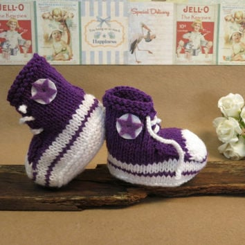 Knit Baby Booties Converse Hi Tops Purple White Toddler Shoes Baby Shower Gift Photo Prop Boots Runners, Australia