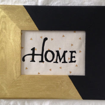 HOME Black, Gold & Black Wooden frame for hanging, Home, Decoration, Gif for her, Entrance, Office Decor, Gift ideas, Wall art decor