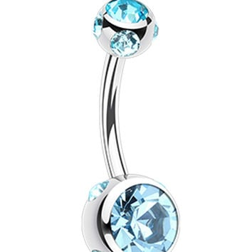Aurora Glass-Gem Ball 316L Surgical Steel Belly Button Ring