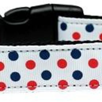 Patriotic Polka Dots Nylon Dog Collar Medium