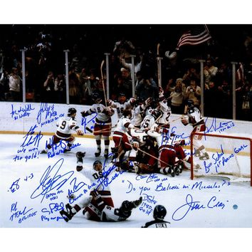 1980 USA Hockey Team Signed 16x20 Photograph w/ Inscriptions 17 Signatures
