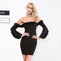 Off Shoulder Ruffle Long Sleeve Party Short Black Dress