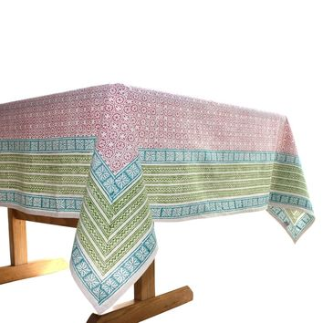 Red Floral Cotton Tablecloth 60 by 60 - Sustainable Threads (L)