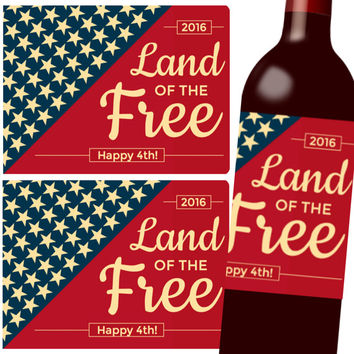 Printable 4th of July Wine Labels - Gift Tags - Stickers - Beer Labels - Instant Download - DIY, Independence Day, Custom Wine Gift, Card