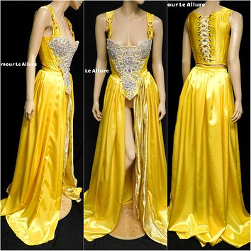 Belle Yellow Rhinestone Medieval Renaissance Ball Gown Dress Skirt with Corset