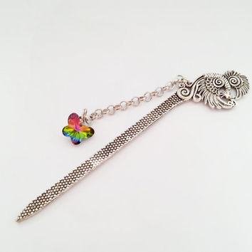 Silver peacock metal bookmark with glass colorful butterfly great gift idea