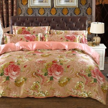 Cool satin silk bedding set bedspread coverlets duvet covers sets twin full queen king size pink peony flower print woven girls homeAT_93_12