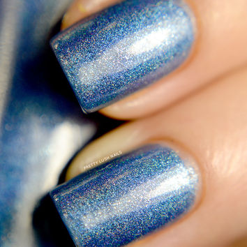 Last Batch - Penumbra - Denim Blue Holographic Polish with Real Silver Shimmer