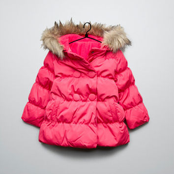 puffer jacket with fur hood - Coats - Baby girl (3-36 months) - Kids - ZARA United States