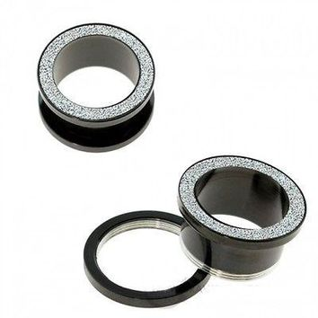PAIR-Black PVD w/Sand Blasted Top Screw On Tunnels 10mm/00 Gauge Body Jewelry