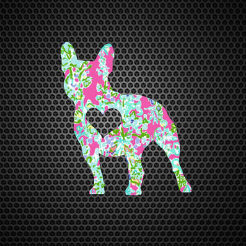 Lilly Pulitzer French Bulldog Heart Decal | Bulldog Mom Decal | Bulldog Dog Mom | Dog Decal | Dog Family Decal | Love Decal | 202