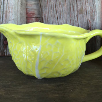Vintage Secla yellow cabbage creamer, sugar bowl with lid, salt and pepper set, vintage Majolica Portugal cabbage pottery SPRING dishes