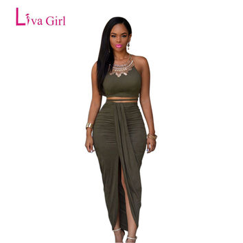 Liva Girl 2017 Front Opening Long Summer Maxi Dress Olive Green Suede 2 Pieces Bandage Dress Women Skater Dress Bodycon Dresses