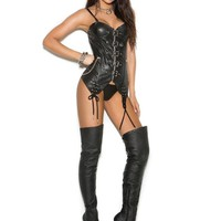 Elegant Moments  EM-L3141X Leather bustier with underwire cups