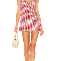 by the way. Scotty Wrap Romper in Red Gingham | REVOLVE