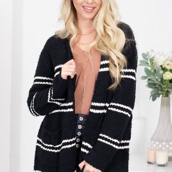Mabel Fuzzy Striped Cardigan | Midnight