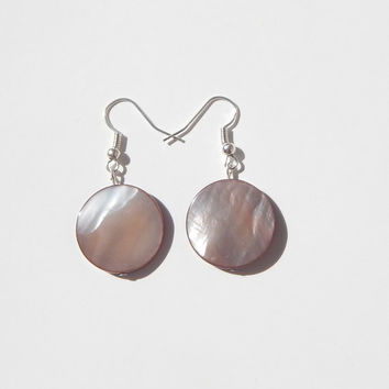 Brown River Shell Earrings, Brown Shell Earrings, Brown Earrings, River Shell Earrings, Shell Jewelry, Shell Earrings, Simple Earrings, Fall