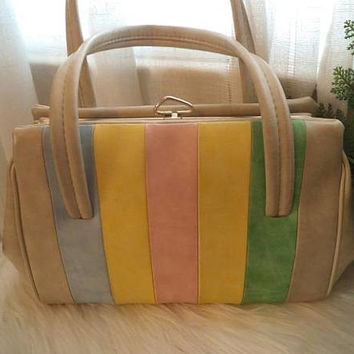 Vintage 1950s Pastel Stripe ~ Candy Stripe Top Handle Purse ~ Statement purse